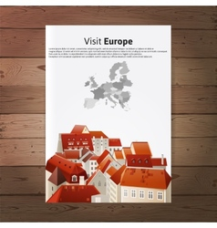 Visit Europe placard with city landscape vector