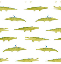 Watercolor crocodile pattern vector