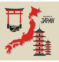 welcome japan symbol traditional design vector image