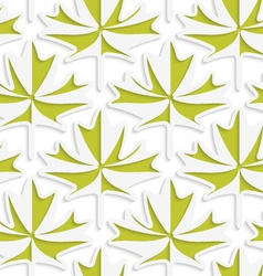 White 3D with colors green maple leaves vector image