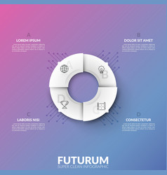 white circular pie chart divided into 4 sectors vector image
