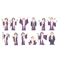 Wizard mysterious male magician in robe spelling vector