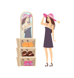 Woman shopping trying headwear on head vector