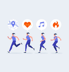 Women jogging character with smartwatch vector