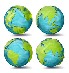 world map 3d planet set earth with vector image