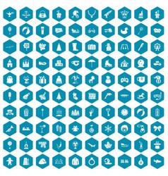 100 children icons sapphirine violet vector image vector image