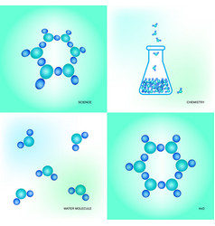 laboratory equipment and water molecules vector image