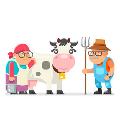 peasant milkmaid farmer granny grandfather adult vector image vector image