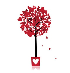 Tree of love in pot for your design vector image