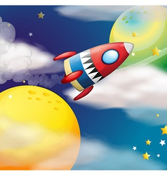 A spaceship near the planets vector image vector image