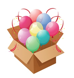 Eight colorful balloons inside a box vector image vector image