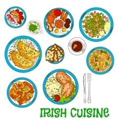 Irish national cuisine dishes set vector image