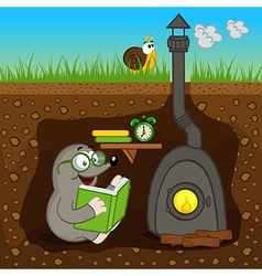 mole reading book at home vector image vector image
