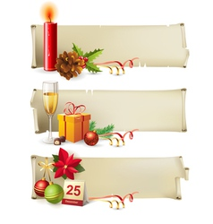 Christmas paper banners vector image