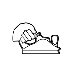 Hand holding metal smoothing plane carpentry tool vector