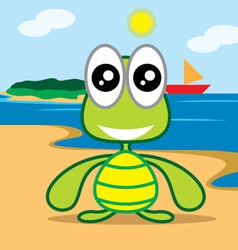turle at beach vector image