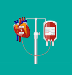 blood bag and heart at holder vector image vector image