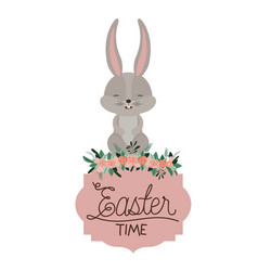 easter time frame with bunny on top and ornament vector image vector image