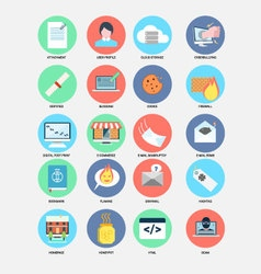 Internet trend flat design icons vector image