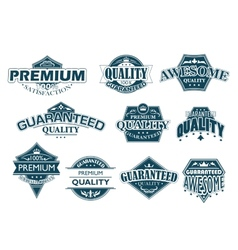 Labels set denoting Premium Quality vector image