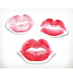 Lipstick kiss in red and pink vector image