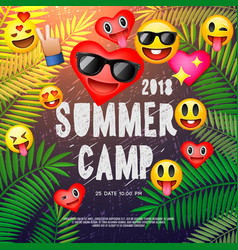 themed summer camp poster with emoji smile faces vector image vector image