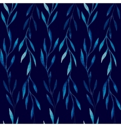 Watercolor seamless pattern of blue leaves on a vector image vector image