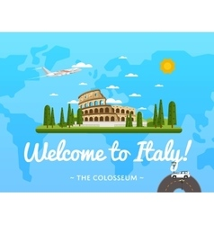 Welcome to Italy poster with famous attraction vector image vector image
