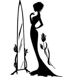 Woman in an evening dress vector image