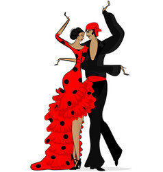 Abstract flamenco couple in dark red vector