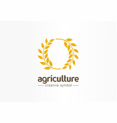 agriculture wheat swirl creative symbol concept vector image