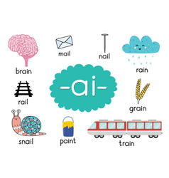 Ai digraph with words educational poster for kids vector