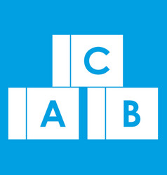 alphabet cubes with letters abc icon white vector image