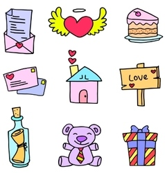 Art of love romance doodles vector
