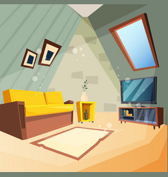 Attic bedroom for kids interior room vector