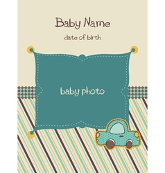 Baby arrival card with photo frame vector