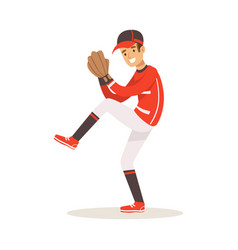 Baseball player in a red uniform pitching vector