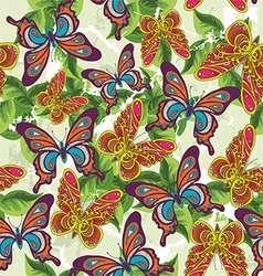 beautiful pattern with butterflies and leaves on a vector image