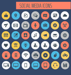 big social media icon set trendy line icons vector image