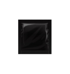 Black blank template packaging with a condom wet vector