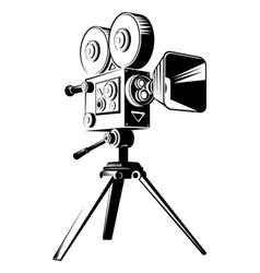 black retro movie camera on a tripod vector image