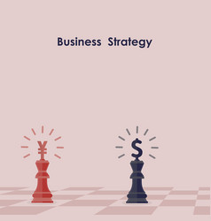 Blue and red king of chess business strategy vector