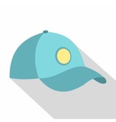 Blue baseball cap icon flat style vector