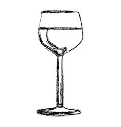 Blurred silhouette wine drink cocktail glass vector