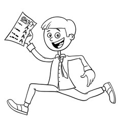 boy with school certificate coloring book vector image