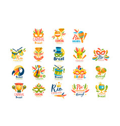brazilian carnival logo design set bright fest vector image