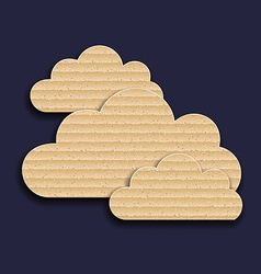 Carton paper clouds isolated on dark background vector image