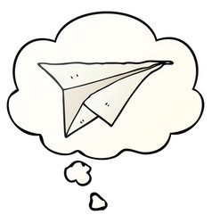 Cartoon paper airplane and thought bubble in vector