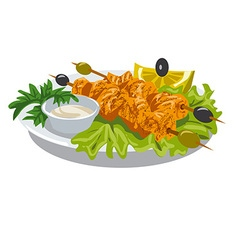 Chicken kebab with sauce vector