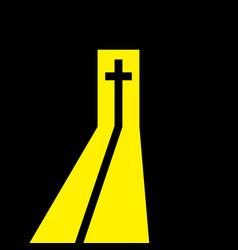Christian cross in the open door vector